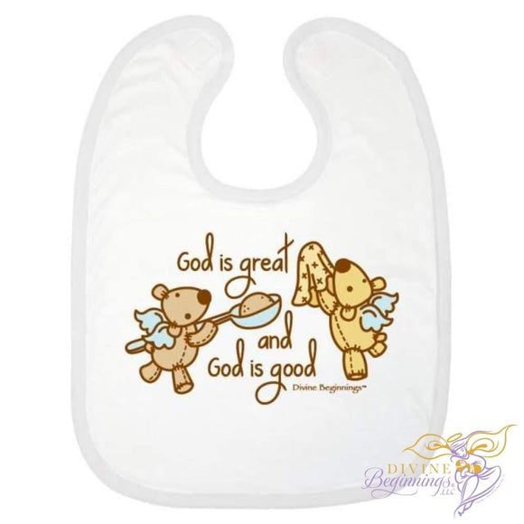 'God is Great, God is Good' Bib - Natural - Divine Beginnings, LLC
