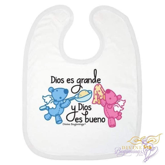 God Is Great Good Bib (Pink/blue - En Español) One Size Accessories