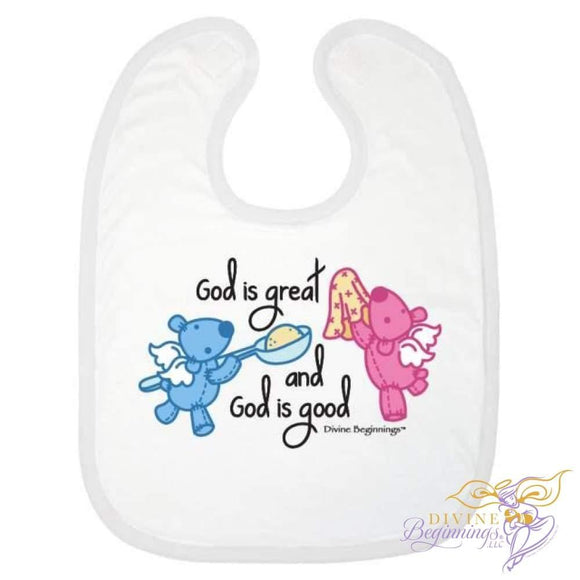 'God is Great, God is Good' Bib - Pink/Blue - English - Divine Beginnings, LLC