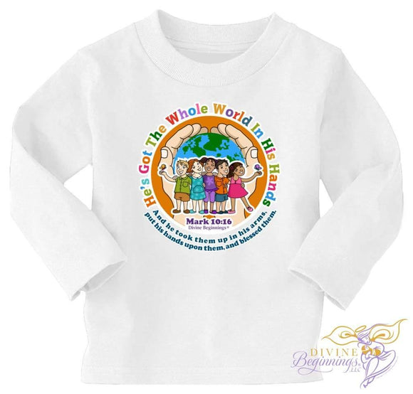 'He's Got The Whole World In His Hands' - Long-Sleeve T-Shirt (Unisex - White Hands) - Divine Beginnings, LLC