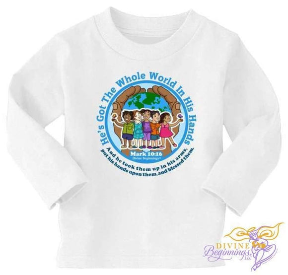 Hes Got The Whole World In His Hands Short 2T / African-American Long Sleeve