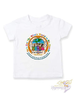 Unisex - He's Got The Whole World In His Hands Short-Sleeve T-Shirt (White Hands) - Divine Beginnings, LLC