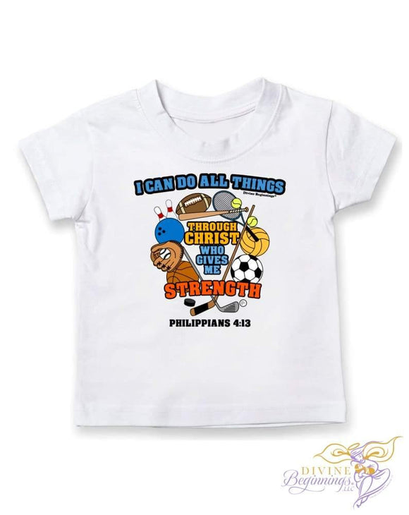I Can Do All Things Boys Short-Sleeve T-Shirt with sports motif