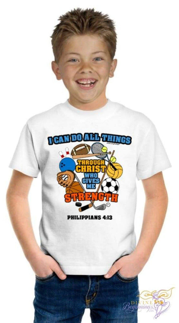 Boys Christian T-Shirt - 'I Can Do All Things Through Christ' - Sports Design - Divine Beginnings, LLC