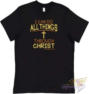 Boys Christian T-shirt - 'I Can Do All Things Through Christ' - Black - Divine Beginnings, LLC