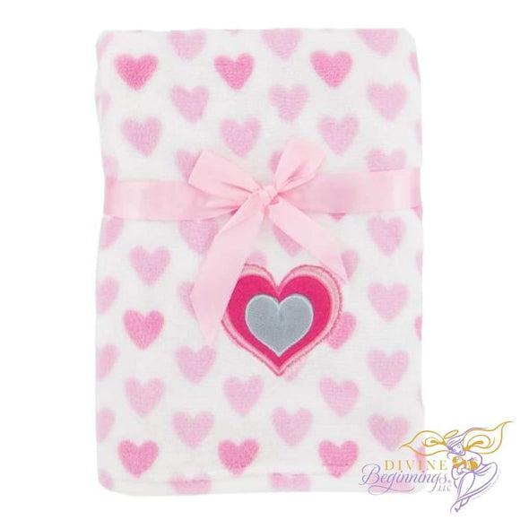 Pink Heart Fleece Blanket Accessories