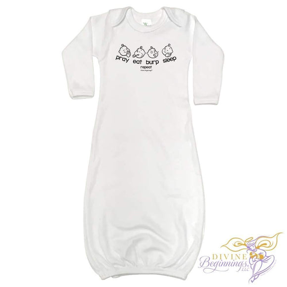 Baby Gown - 'Pray - Eat - Burp - Sleep' - Divine Beginnings, LLC