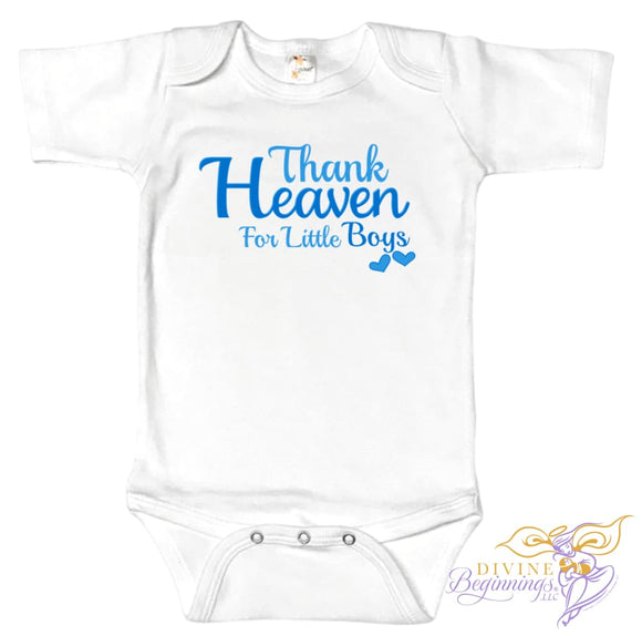 Thank Heaven For Little Boys- short-sleeve white onesie with blue writing