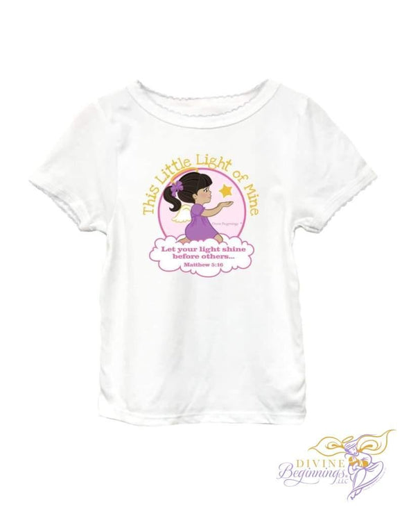This Little Light Of Mine - Girls Cap Sleeve T-Shirt With Scallop Trim (Bi-Racial) 2T Clothing