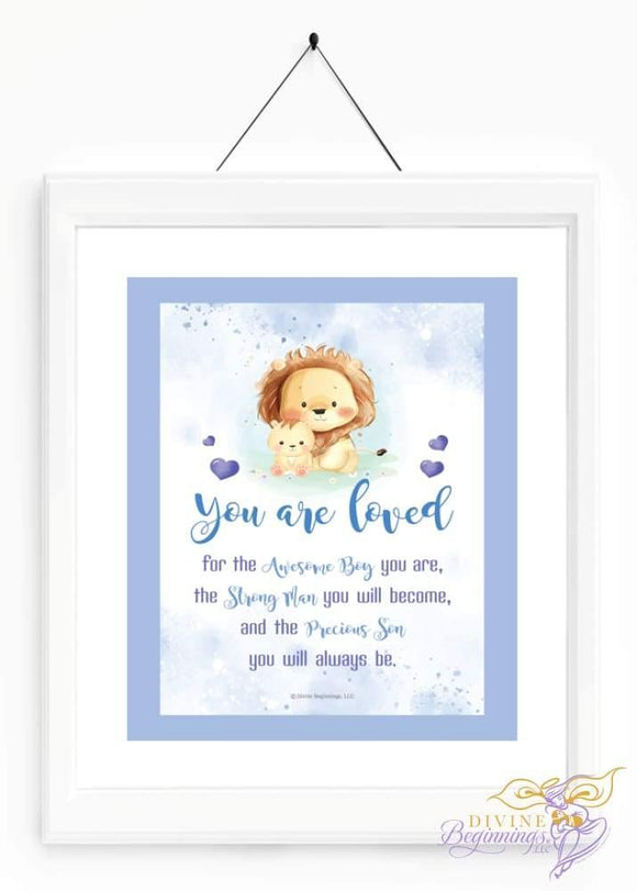 You Are Loved - Son Wall Art 5X7 / Boy Artwork