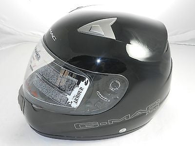 "G-Mac Pilot ""Gloss Black"" Full Face Motorcycle Helmet (size M)"