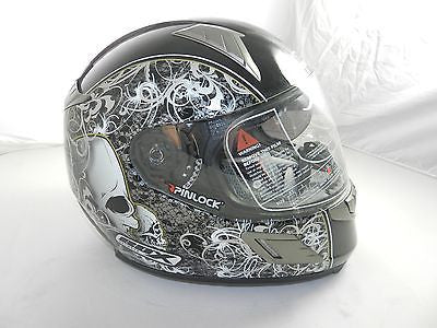 "Box BZ-1 ""Skull/Black"" Full Face Motorcycle Helmet (size L)"
