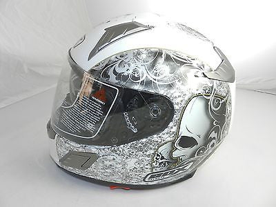 "Box BZ-1 ""Skull/White"" Full Face Motorcycle Helmet (size S)"