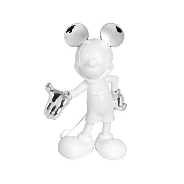 sliver and white mickey sculpture