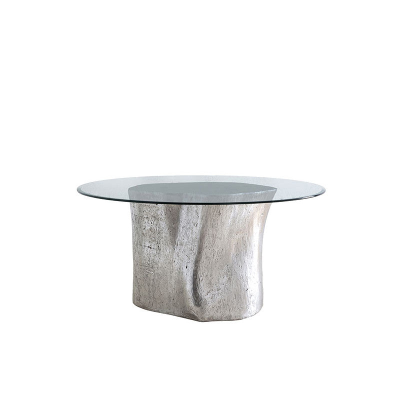 Log Table Base Glass Top
