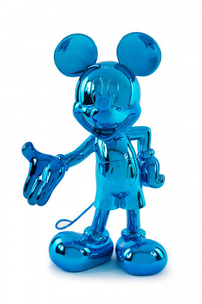 welcome mickey sculpture blue chrome