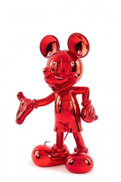 welcome mickey sculpture red chrome