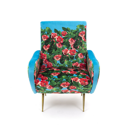 Velvet Buttoned Arm Chair