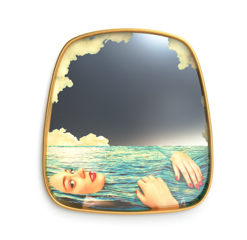 Seletti Lipsticks Gold Frame Mirror
