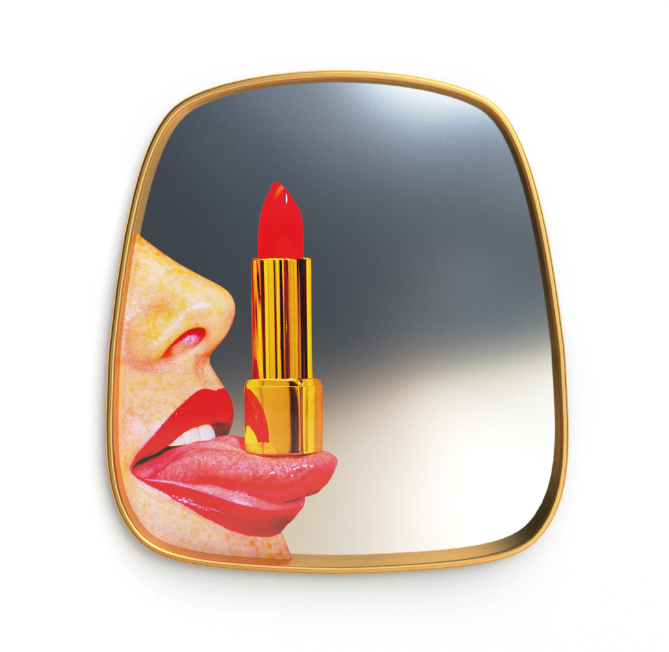 Seletti Tongue Gold Frame Mirror