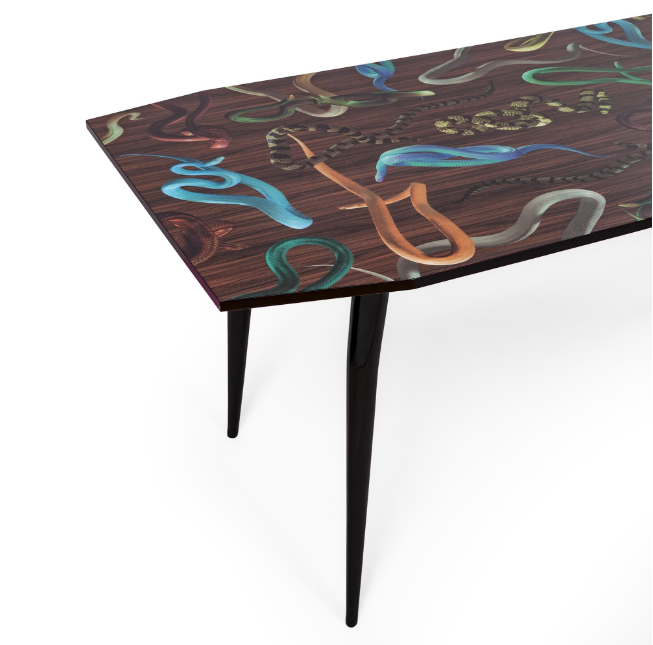Seletti Snakes on Wood Dining Table