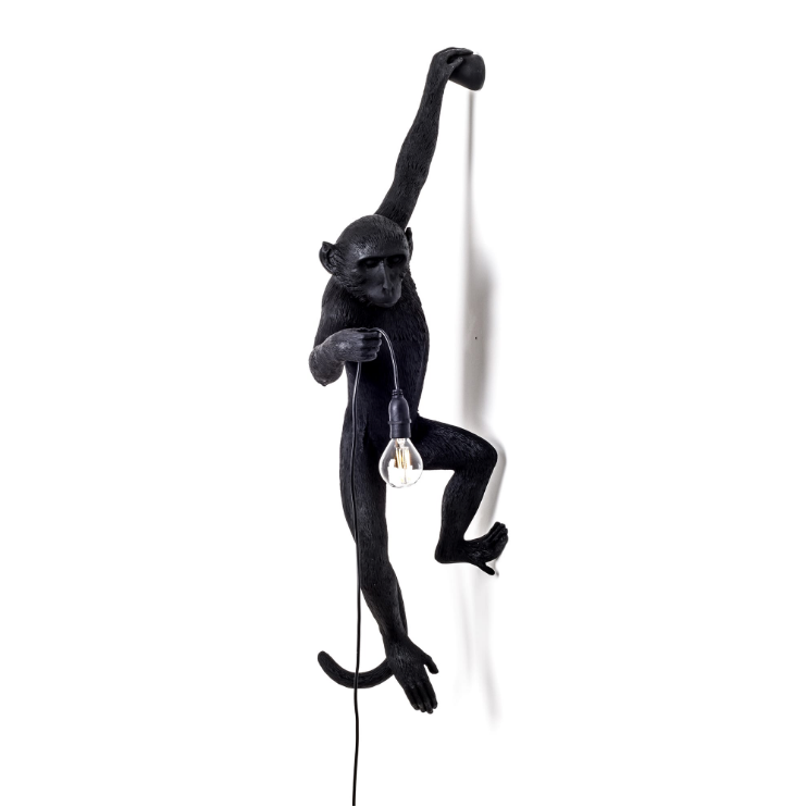 Wall Hanging Monkey Lamp Black Left Version