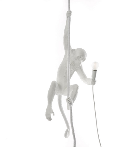 Standing Monkey Lamp Black