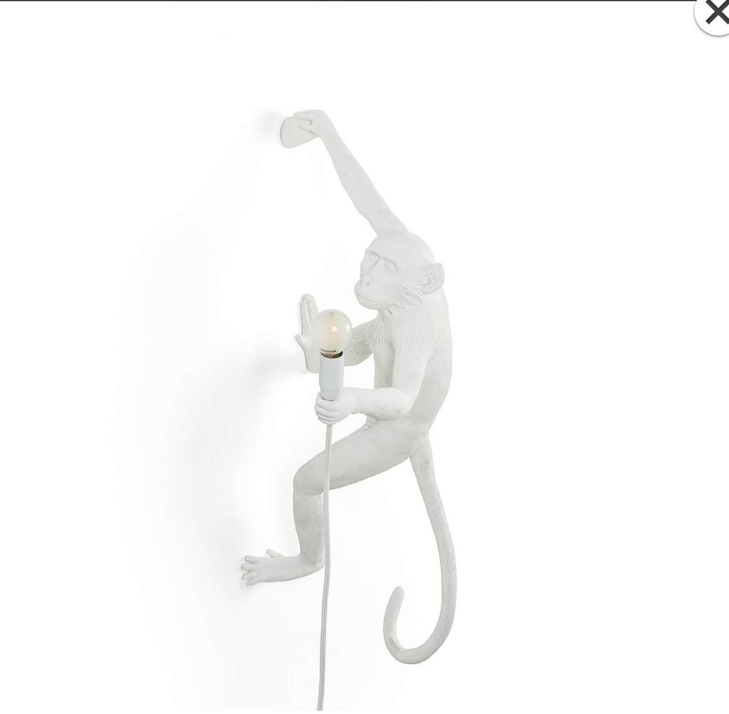 Wall Hanging Monkey Lamp OUTDOOR Version White Right