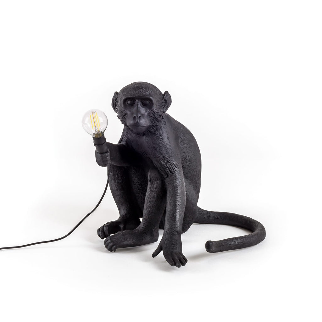Black Sitting Monkey Lamp