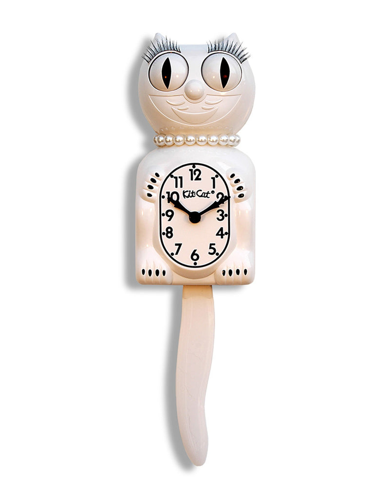 Lady Cat Clock White