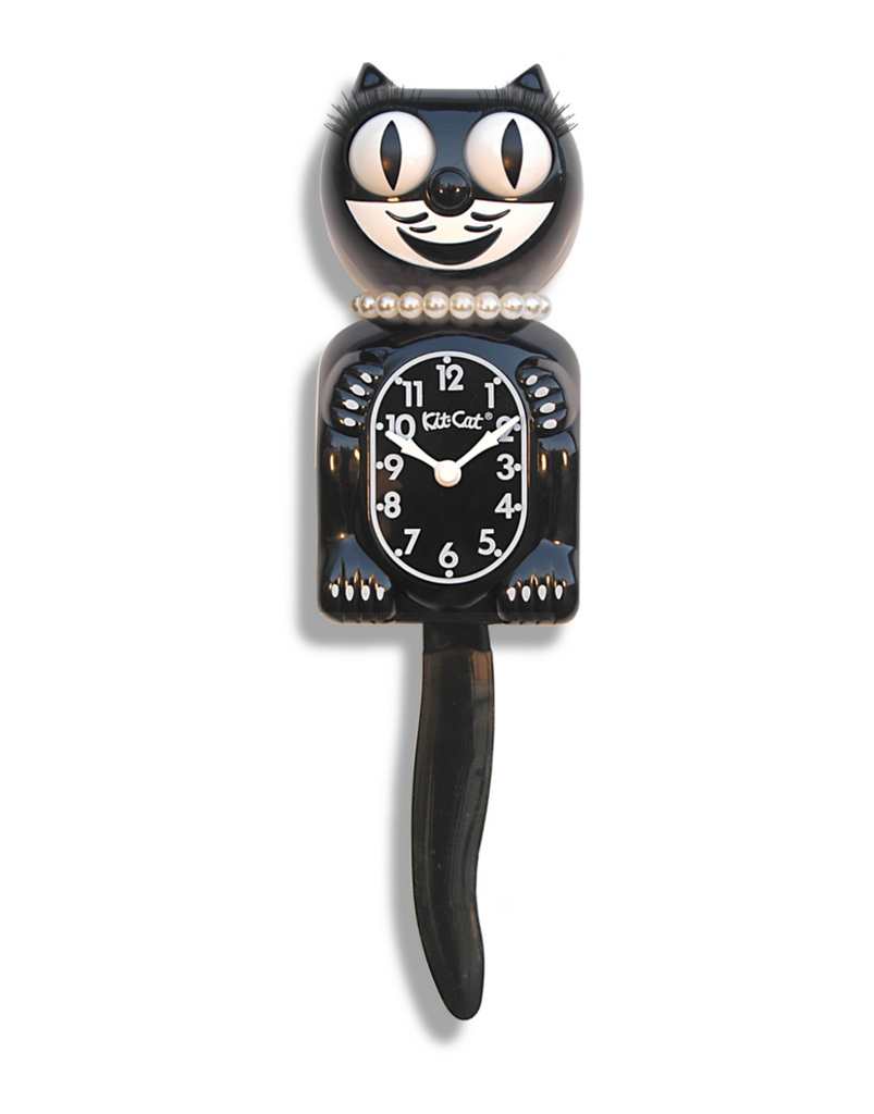 Lady Cat Clock Black