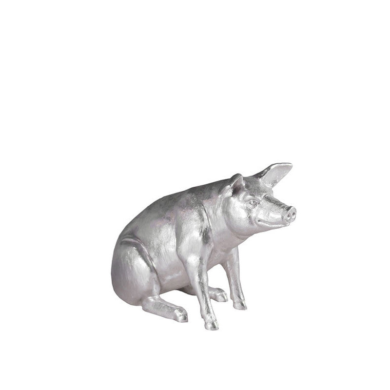 Pig Sculpture Silver Leaf