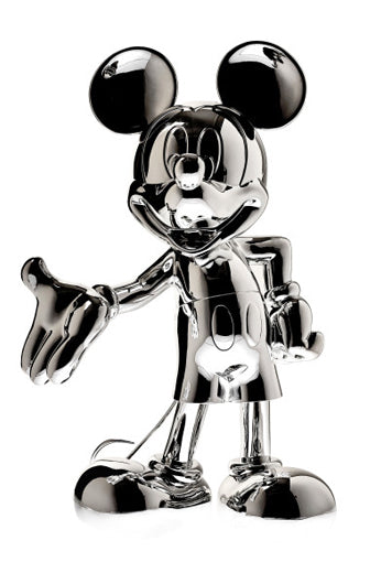 welcome mickey sculpture silver chrome