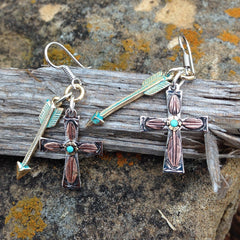 A. Indian Arrow Head & Feather Cross Earrings
