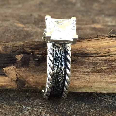 T. Antique Crystal Thin Band Ring
