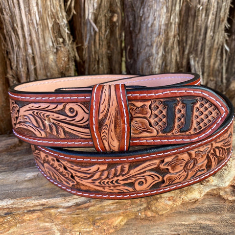 Leather Custom Tooled Belt