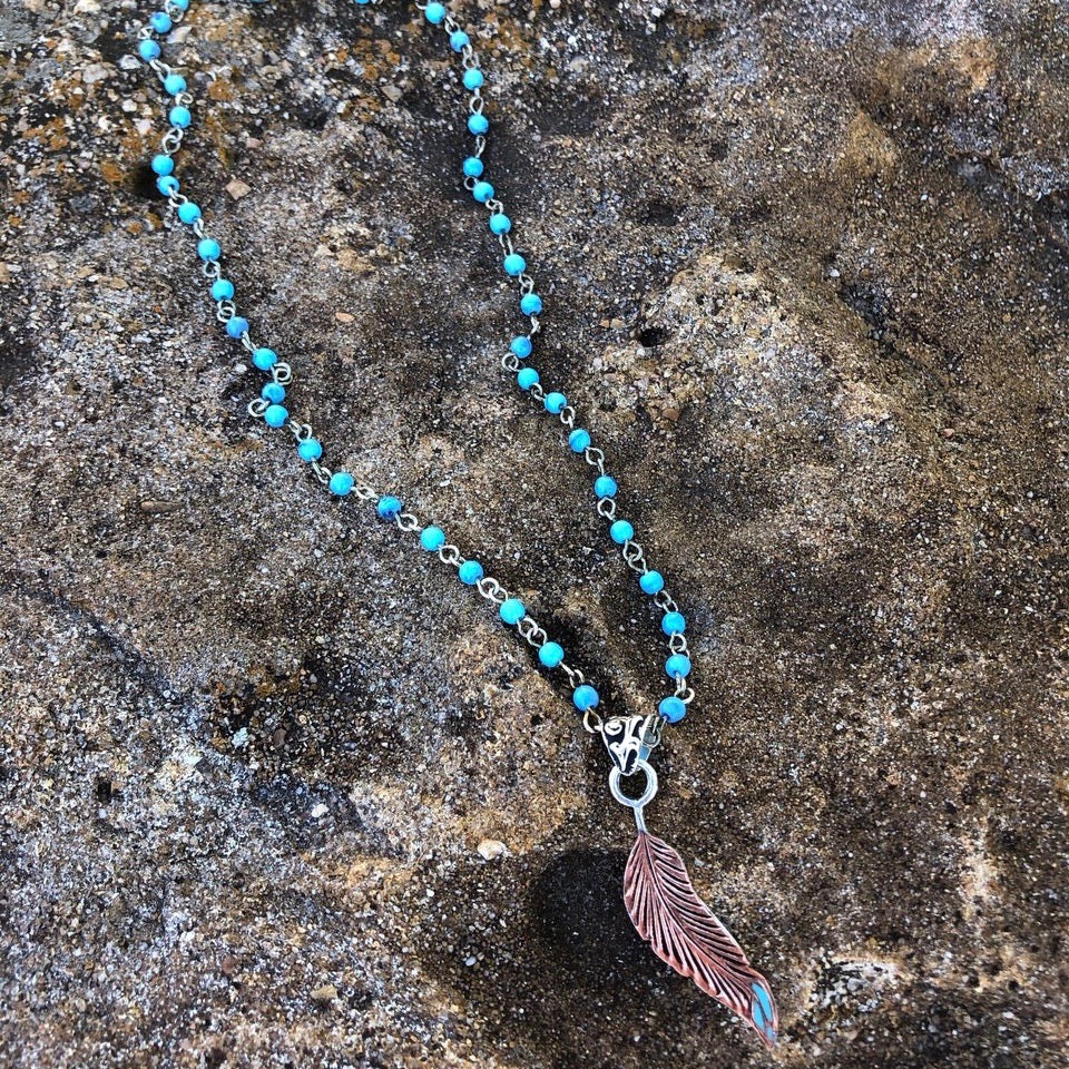 Copper Indian Feather Pendent & Necklace