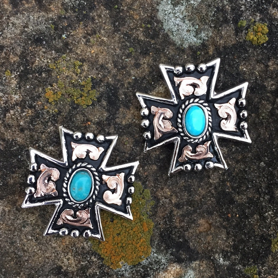 L. Turquoise Cross Earrings