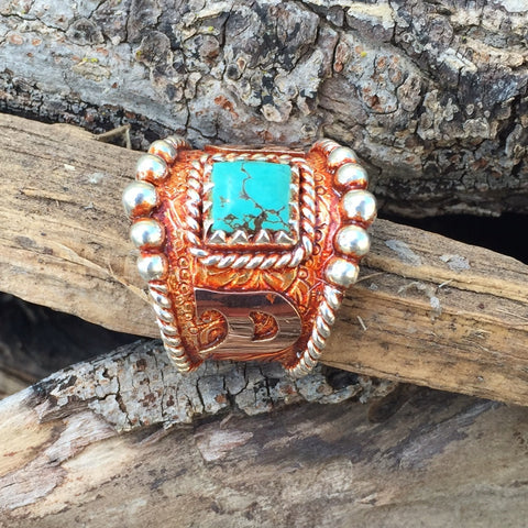 L. Vintage Copper Turquoise Ring