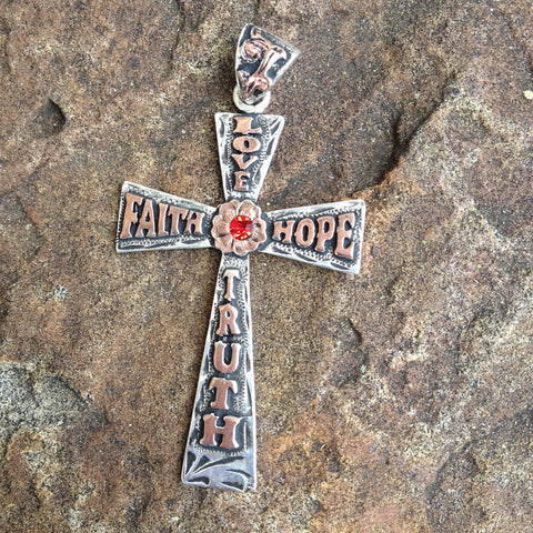 Love Faith Hope Truth Cross Pendent