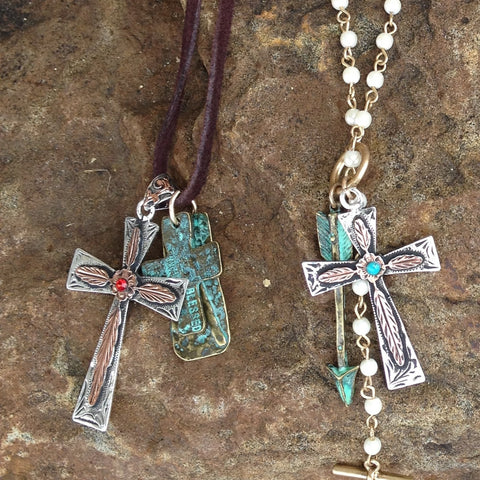 Copper Feather Cross with Necklace