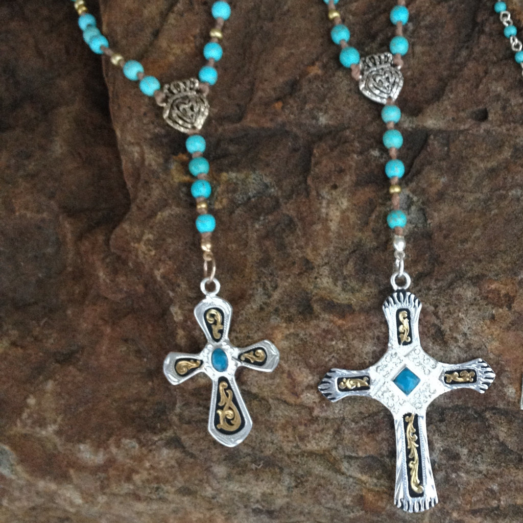 Crystal & Turquoise Cross with hang Necklace