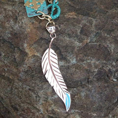 Copper Indian Feather Pendent