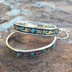 G. Turquoise Hoop Earrings