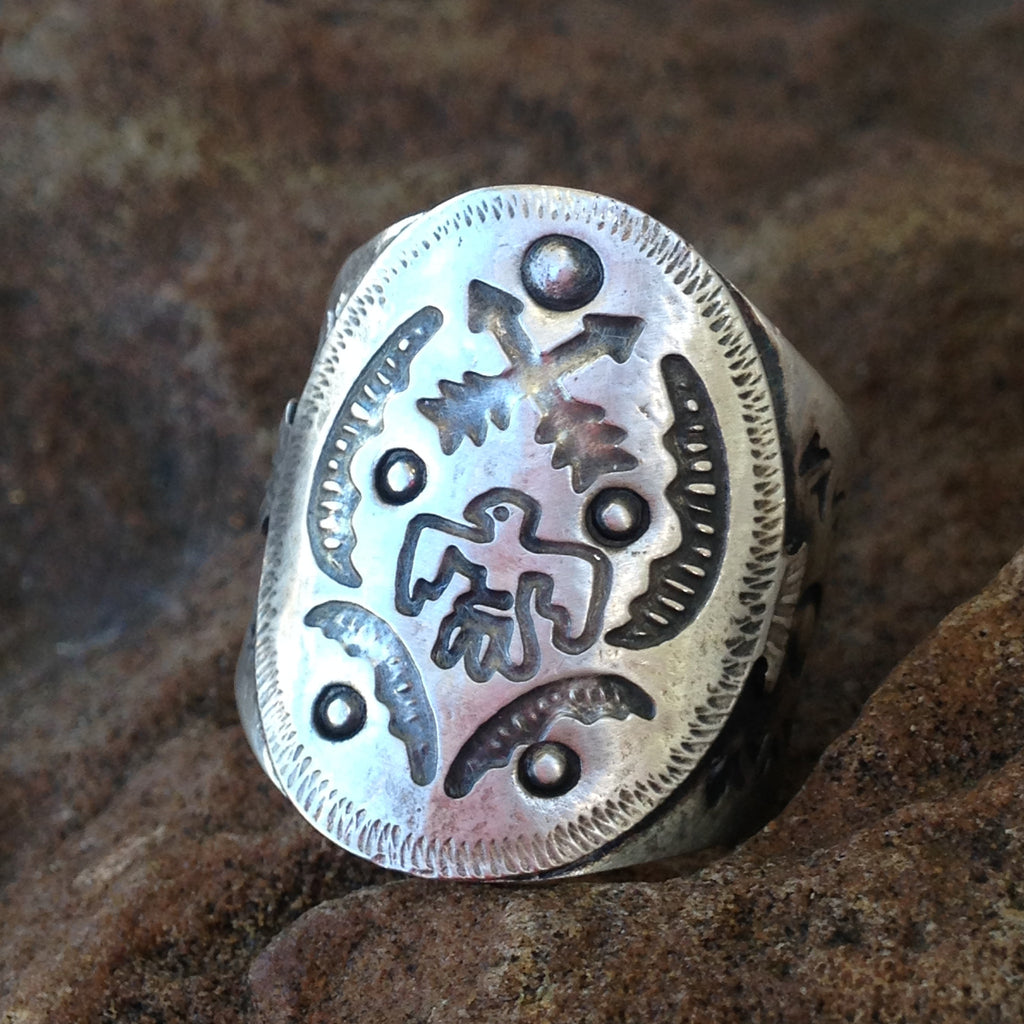 X. Silver indian arrow ring