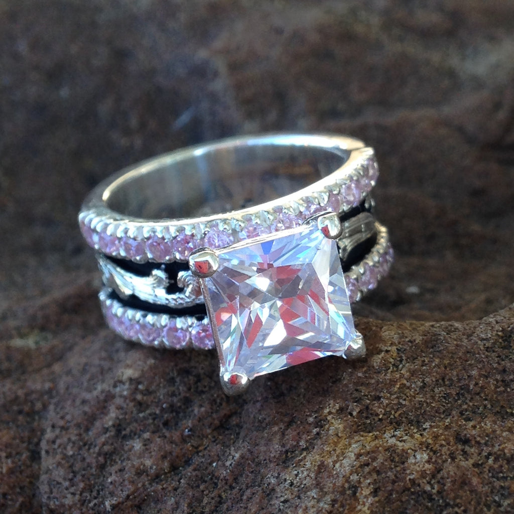S. Thin Band Pink Crystal Ring