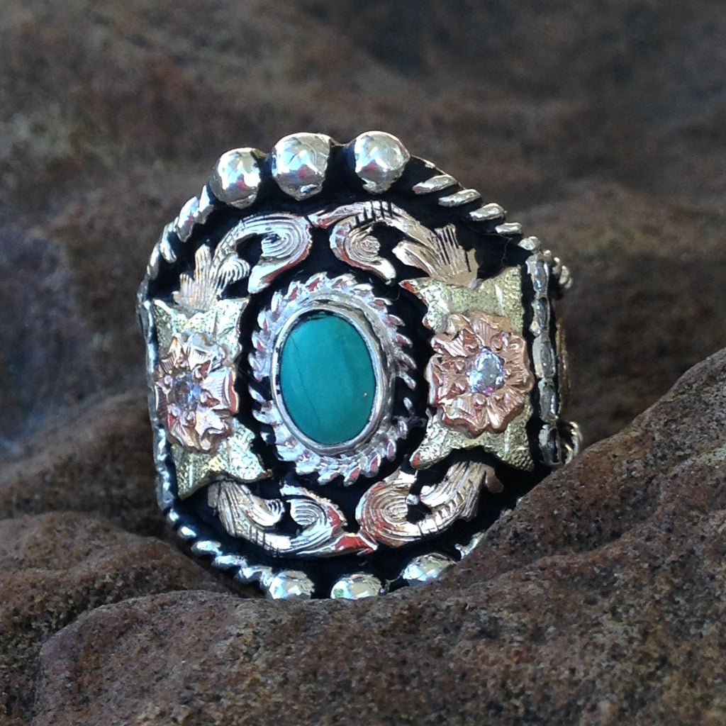A. Turquoise Gold & Silver Ring