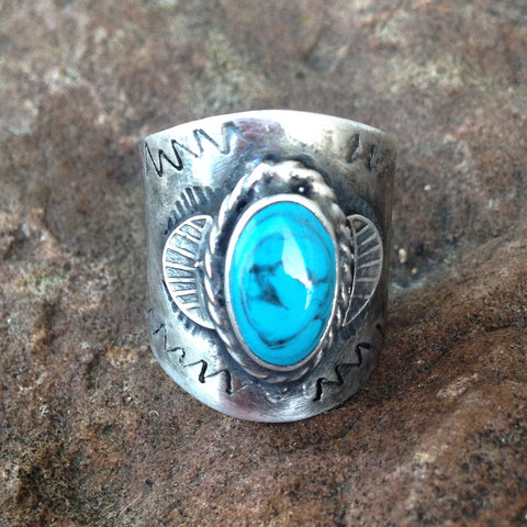 E. Silver Turquoise Engraved Ring