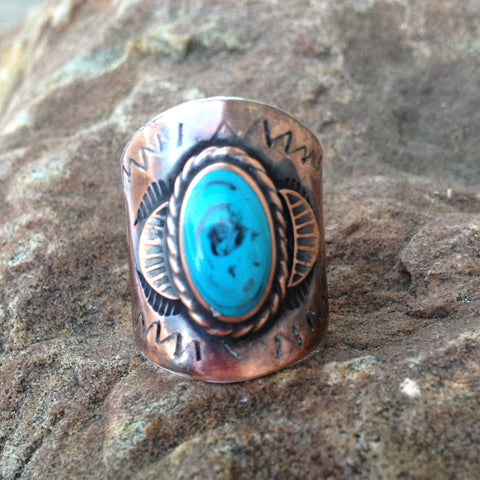 F. Copper Turquoise Engraved Ring