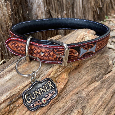 Leather Dog Collar with Custom Tag 3.